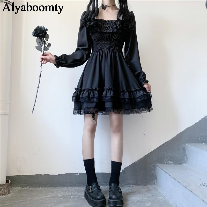 Japanese Lolita Style Women Princess Black Mini Dress Slash Neck High Waist Gothic Dress Puff Sleeve Lace Ruffles Party Dresses 1