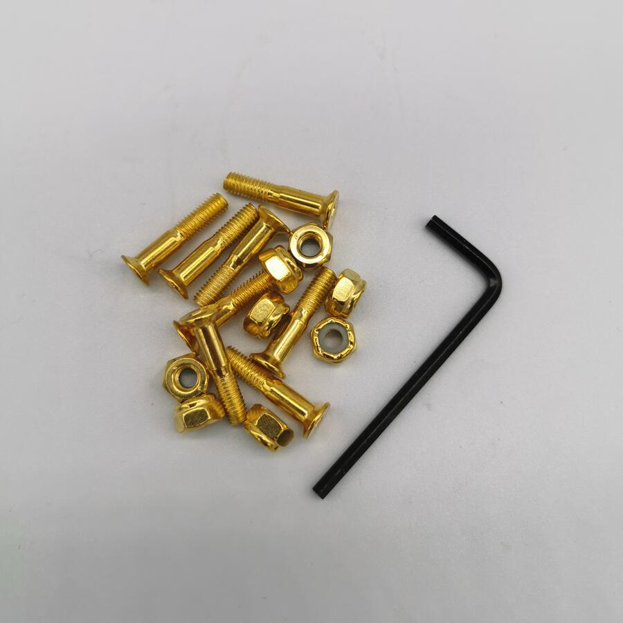 1inch Black And Gold Color Skateboard Screws + L Tool Skateboard Bolts And Nuts Skateboard Hardwares
