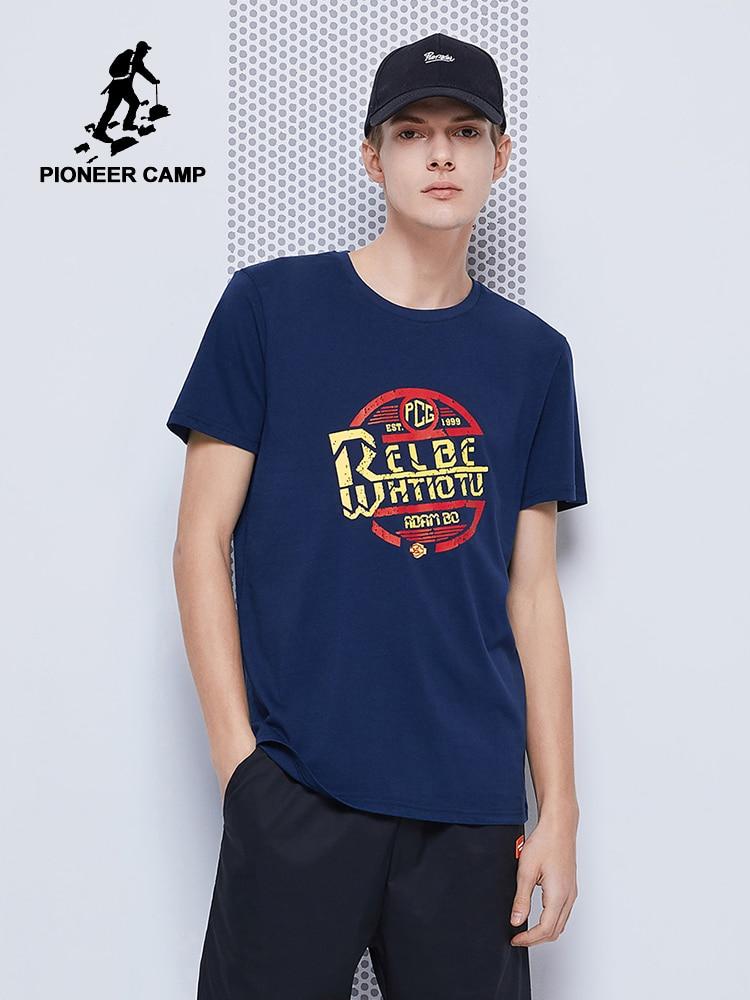Pioneer Camp 2020 Summer T-shirts Men  Hip Hop Streetwear 100% Cotton Black Blue Fashion Printed Summer Men T Shirt ADT0206020