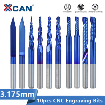 цена на XCAN Solid Carbide Engraving Bit 10pcs 3.175mm Shank CNC End Mill Woodworking Router Bit Wood Milling Cutter