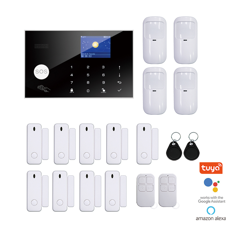 Tuya WiFi GSM Wireless Home Security Alarm With LCD Touch Keypad RFID Amazon Alexa Google Home IP Camera Remote Control Monitor