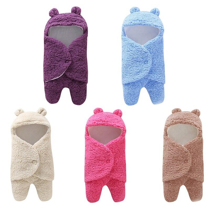 Baby Sleeping Bag Soft Warm Baby Blanket Cotton Solid Newborn Swaddling Wrap Stroller Accessories Sleepsacks