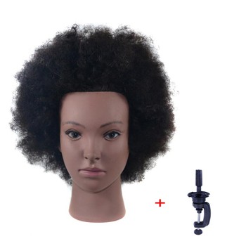 """Female Afro Mannequin Head Hairdressing Training Head For Salon Cosmetology Manikin Dummy Doll Head With Black Human Hair alileader 26"""" synthetic blonde black hair training mannequin head cosmetology hair salon hairdressing practice doll manikin head"""