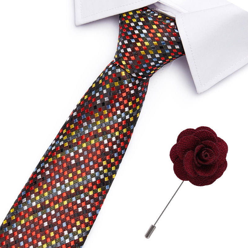 Mens Tie&Brooch Necktie Pin  Set Fashion Stripe Ties For Men Cravat Party Man Gift Wedding Dress Accessories