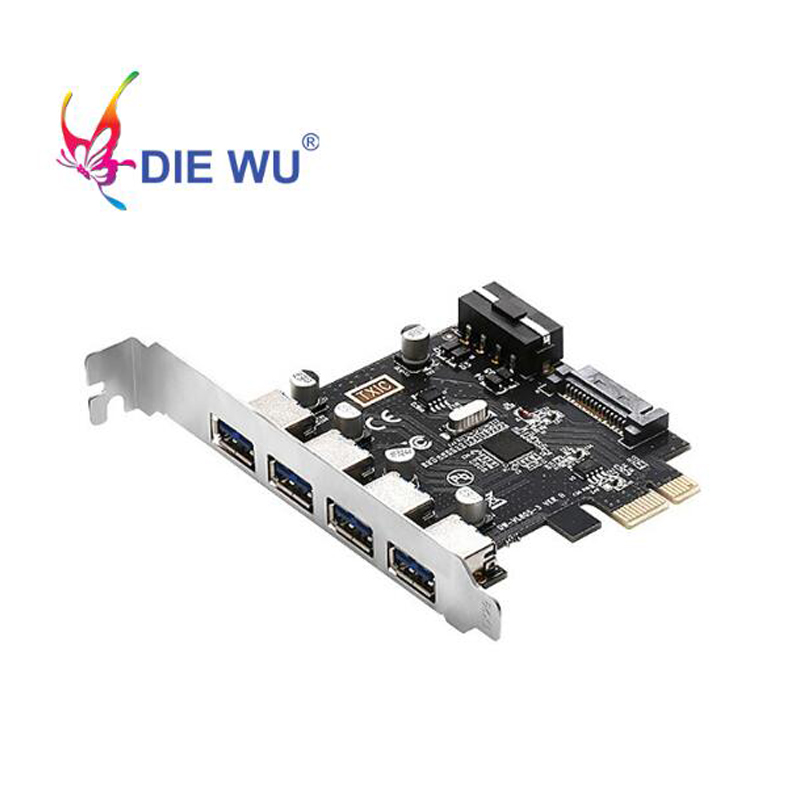 USB 3.0 4 Port PCI-Express Card To 4Pin 15Pin High Speed Extender Adapter Card Power Connector For Desktop PC With CD Driver