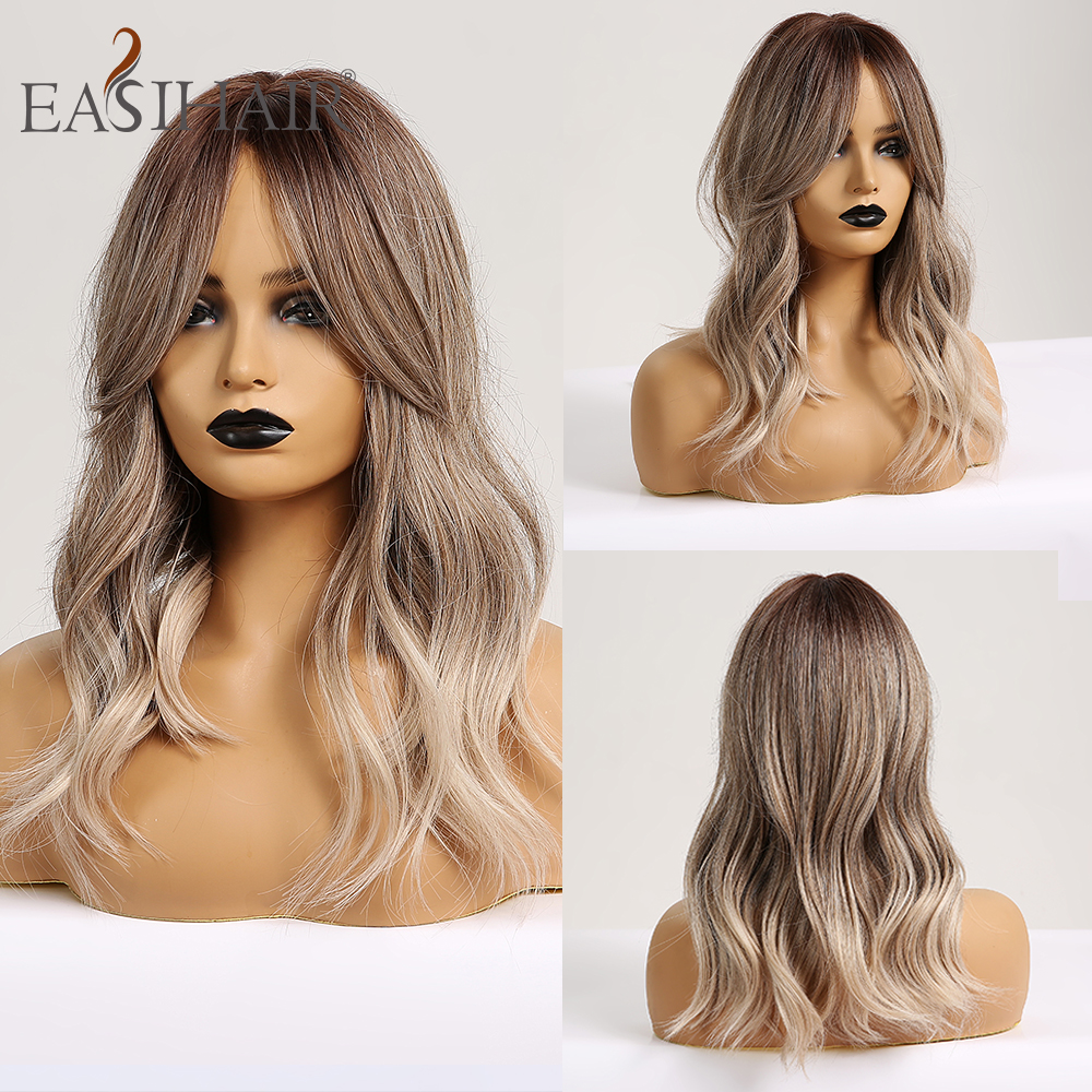EASIHAIR Medium Wave Wigs With Bangs Ombre Brown Blonde Synthetic Wigs For Black Women Afro Body Wavy Cosplay Wig Heat Resistant
