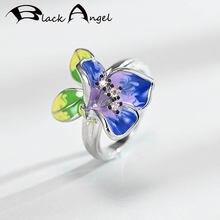 Кольцо женское из серебра 925 пробы с черным ангелом и фиолетовой