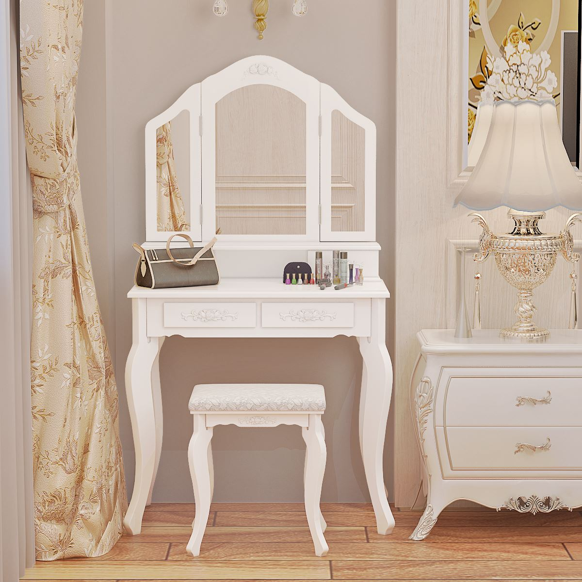 Panana Girls Princess Bedroom Premium Quality Dressing Table Stool Mirror White Home Furnitures Mother & Daughter Dressing Table