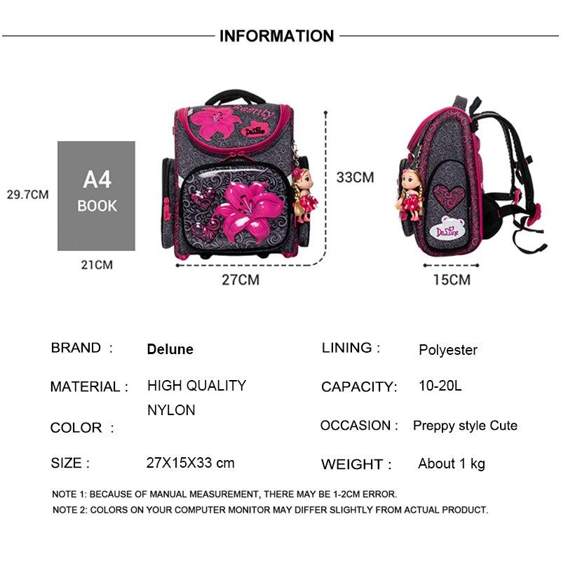 Brand Delune New Girls School Bags Cartoon Flower Pattern Kids Boys Waterproof Orthopedic Backpack Schoolbags Mochila Infantil in School Bags from Luggage Bags