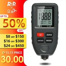 R&D TC100 Medidor de espesor de recubrimiento TC100 0,1 micrón/0 1300 medidor de espesor de película de pintura de coche medidor de medición FE/NFE herramienta de pintura Manual rusa