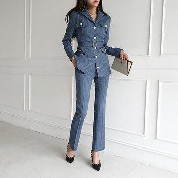 Spring Women's Office Suit Double-Breasted Stripe Blazer Jacket High Waist Slim Wide-Leg Trousers 2 Piece Set Female Pantsuit 1