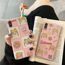 Candy Pink Sailor Moon Super kawaii Phone case For iPhone 7 7Plus 8 6 6s Plus X XS Max Xr Cute Cartoon Girl Cases Silicone Cover цена