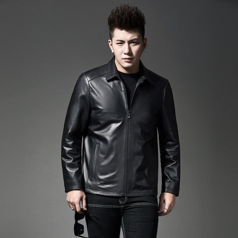 Новый стиль 2019, зимнее мужское кожаное пальто в Корейском стиле, черно белое, с рисунком, городское, модное, с отложным воротником, повседнев...