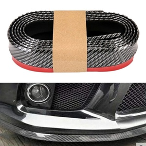 Lip on Bumper Universal Rubber Band For Car Accessories Front Soft Carbon Fiber 55mm Width 2.5m length Strip Auto Outside