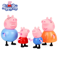Peppa Pig Peppa Pig 4pcs/set Peppa Pig Family Action Figure George & Peppa Mini Model Cake Ornaments Gift Toys for Children ebony carved pig ornaments solid wood zodiac pig home feng shui living room decorations mahogany carving pig crafts