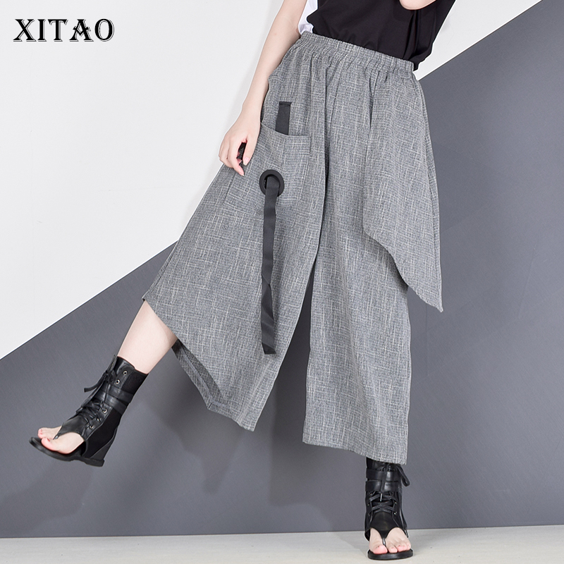 XITAO yüksek bel Patchwork Hit renk pantolon kadın kıyafetleri 2020 yaz sonbahar moda elastik bel rahat geniş bacak pantolon XJ4619
