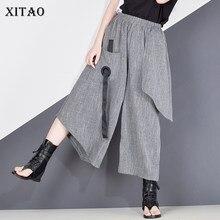 XITAO wysokiej talii Patchwork Hit kolorowy spodnie damskie ubrania 2020 lato jesień moda w pasie dorywczo szerokie spodnie nogi XJ4619