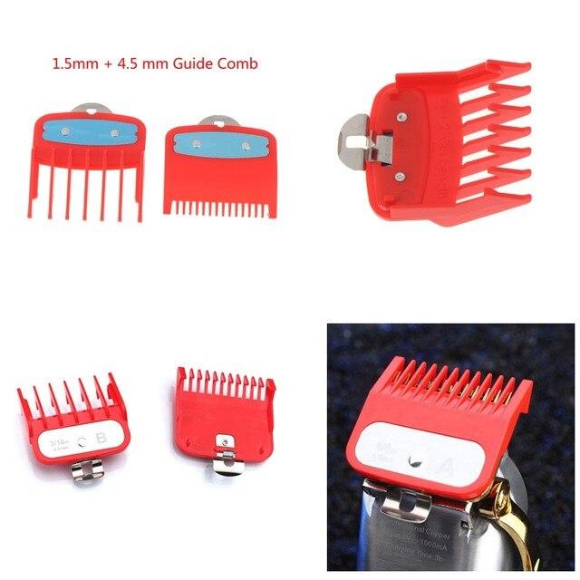2Ppcs(1.5mm+4.5mm) Guide Comb Sets 1.5 And 4.5 Mm Size Red Color Attachment Comb Set For Professional Clipper random