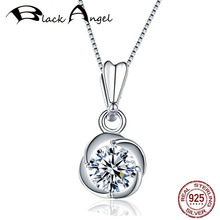 Exquisite 925 Sterling Silver Zircon Flower Pendant Necklaces for Women 925 Silver CZ Fine Jewelry Gift real 925 sterling silver alphabet o zircon pendant necklaces for women cz geometric wedding fine jewelry