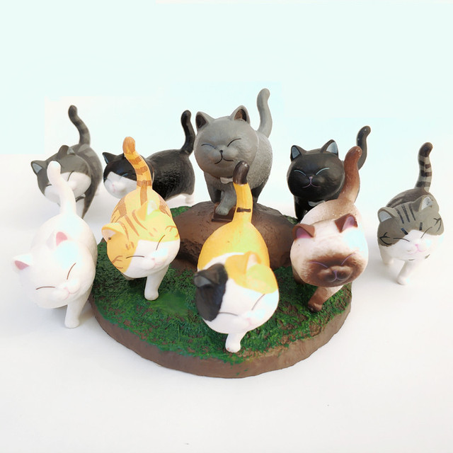 1Pcs Cute Mini PVC Animal Miniatures Japanese Bell Cat Doll Figures Toy Creative Handicraft Ornaments Home Decoration Crafts 4