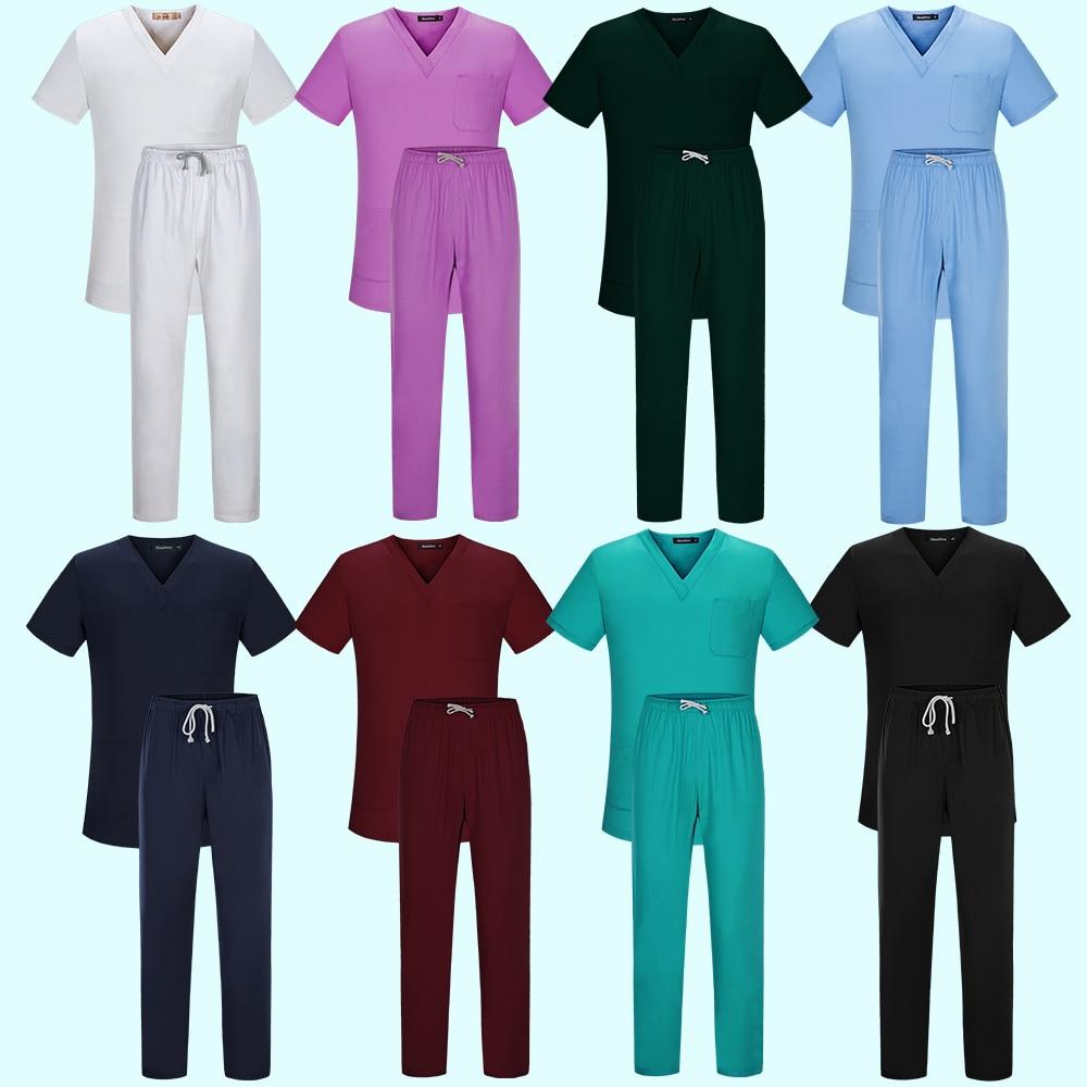 Alta qualidade médico & enfermeira uniformes unissex v-neck hospital salão de beleza esfrega define uniformes médicos cirúrgicos esfrega topos + calças