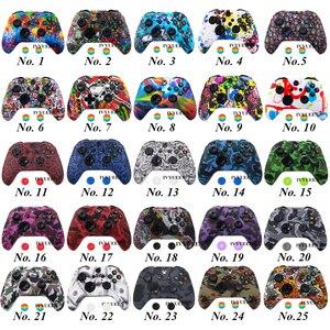 Image 2 - Ivyueen 25 Kleuren Voor Microsoft Xbox 1 Een X S Controller Silicone Beschermende Huid Case Water Transfer Printen Cover Grip caps