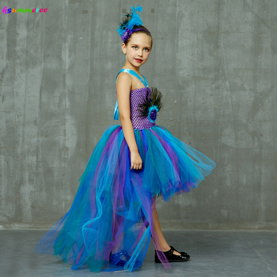 Peacock Tutu Costume Dress Child Girls Pageant Prom Ball Gown Princess Peacock Feather Halloween Birthday Party Train Dress 2