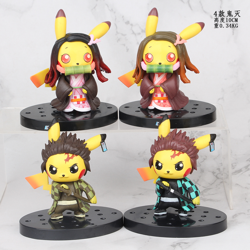 TAKARA TOMY POKEMON Original Pikachu Cosplay Demon Slayer: Kimetsu No Yaiba Anime Action Toys Figure Collection Model For Child