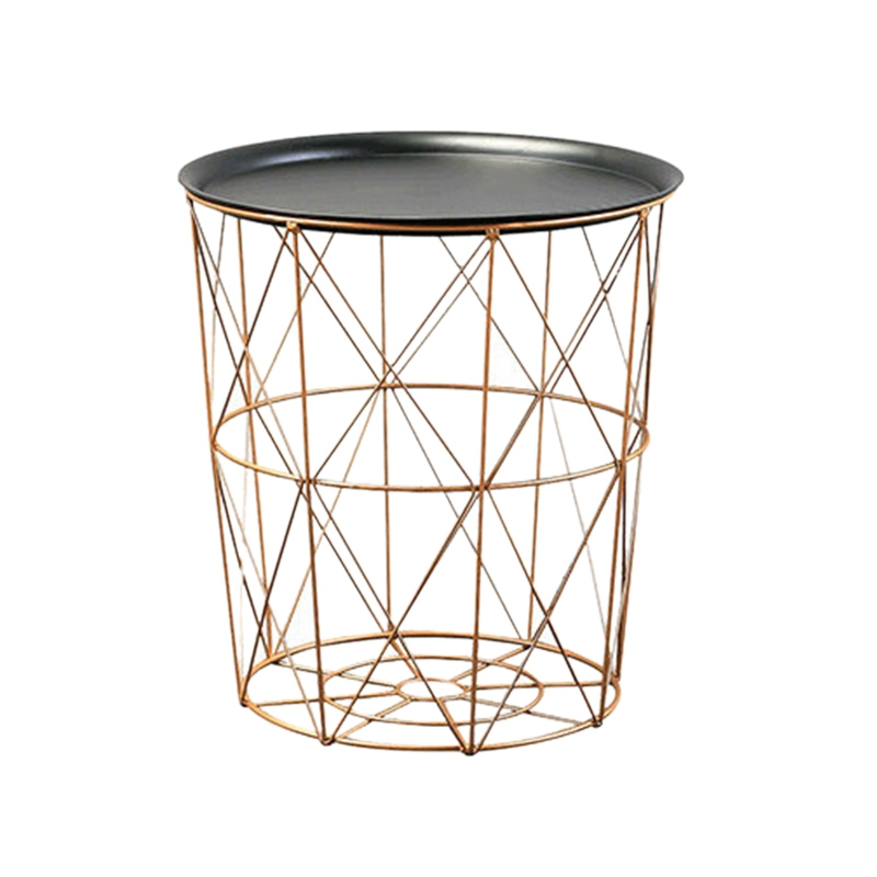 EASY-Modern Gold Round Wire Metal Storage Basket Side Table Bedroom Balcony Corner Tea Table