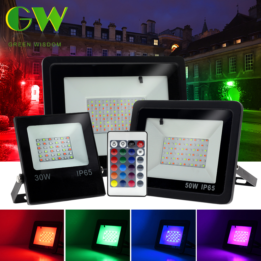 RGB LED Floodlight AC220V 10W 30W 50W 100W Outdoor Wall Lamp Reflector IP65 Waterproof Garden Landscape Lighting RGB Flood Light