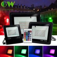 Reflektor LED RGB AC220V 10W 30W 50W 100W reflektor zewnętrzny kinkiet IP65 wodoodporny pejzaż z ogrodem oświetlenie reflektor szerokostrumieniowy RGB