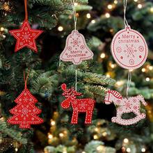 12pcs Wooden Deer Christmas Tree Pendant Socks Bell Crafts Innovative Ornament Home Decoration DIY Accessories