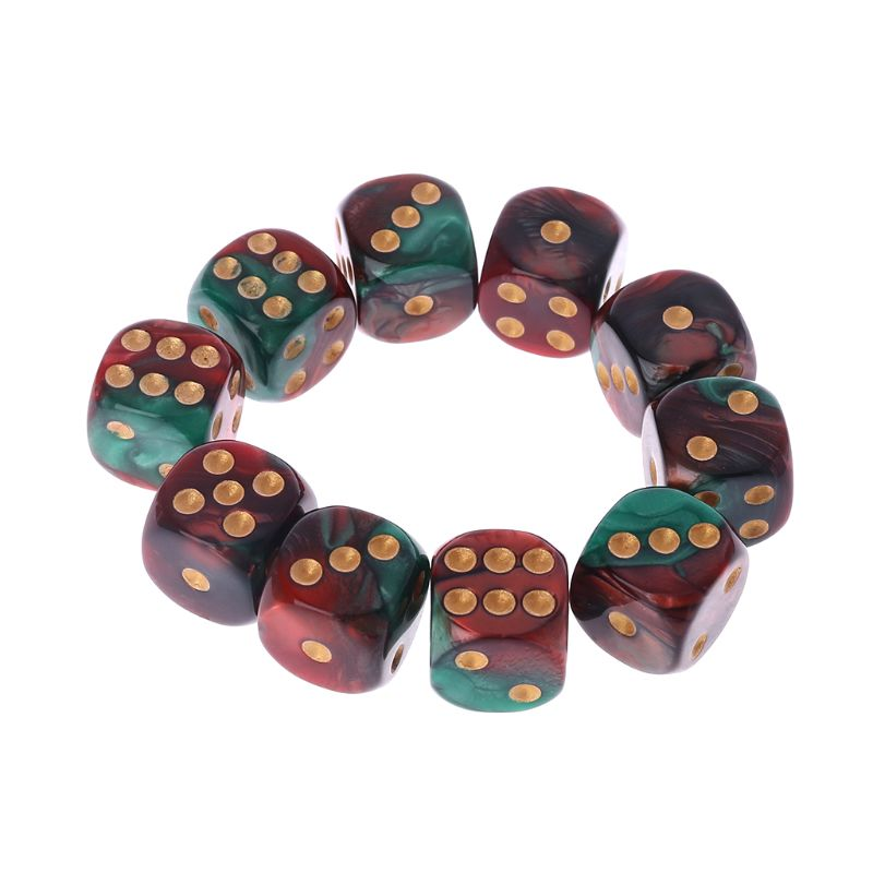 10 Pcs 16mm Resin <font><b>Dice</b></font> <font><b>D6</b></font> Red <font><b>Green</b></font> Gold Points Round Edges KTV Bar Nightclub Entertainment Tools Adult Toys image
