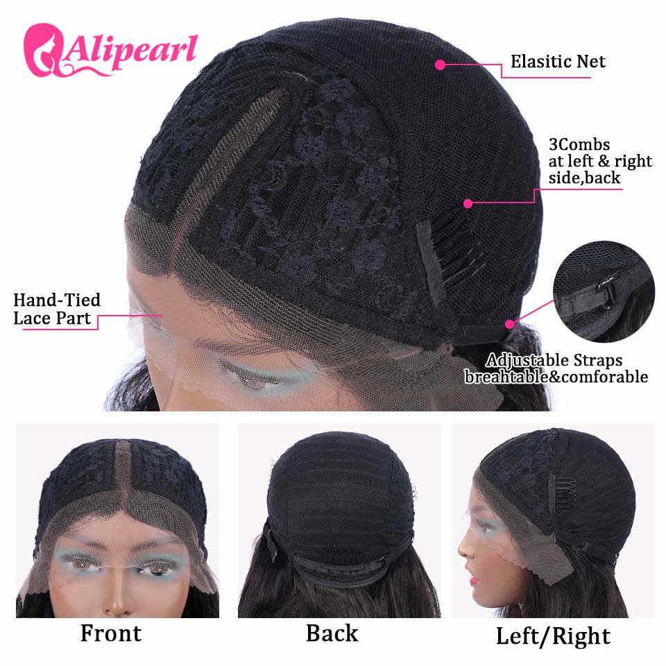 Алиперл волос яки человеческие волосы парик с повязкой на голову перуанский кудрявый прямой парик с головной повязкой для черных женщин безклеевая 180 плотность