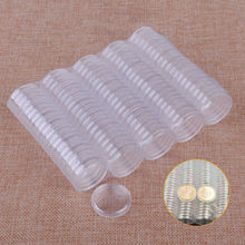 100pcs 26mm Coin Holder Capsules Box Storage Clear Round Display Cases Coin Holders