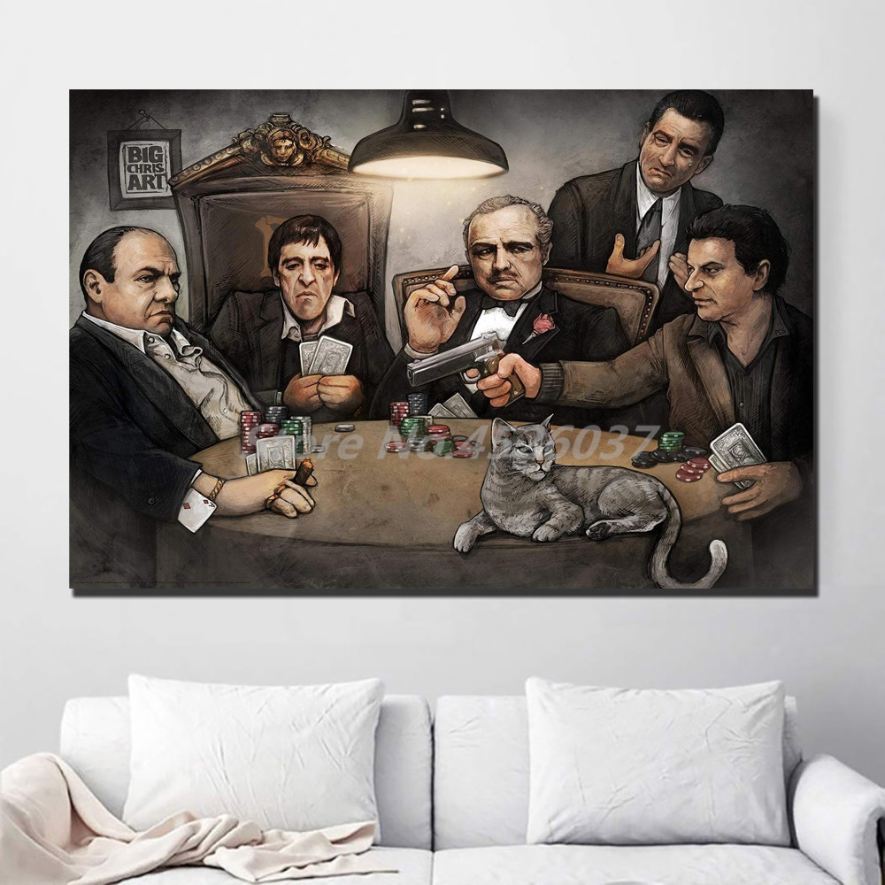 <font><b>Gangsters</b></font> Playing Poker <font><b>Poster</b></font> Wall Art Canvas Painting Print Decorative Picture For Living Room Home Decoration image