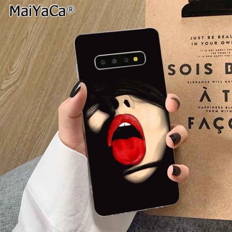 MaiYaCa seksi kız kırmızı dudaklar öpücük yumuşak şeffaf TPU telefon kılıfı için Samsung S7 kenar S8 S9 S10 S20 artı s10 LITE S10 5G