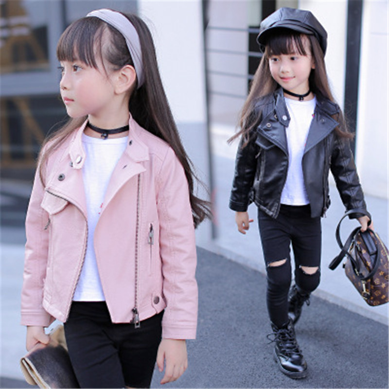Zipper Jackets For Girls Clothes Classic Collar Coats Teen Windbreaker Clothing For Girls Leather Coat Children Overwear Clothes