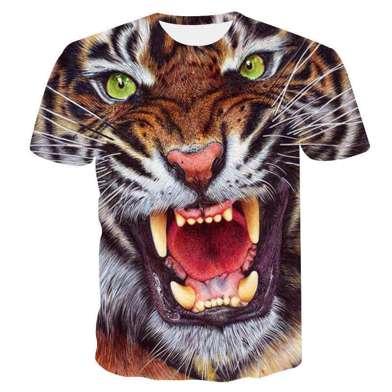 Camisetas para hombre, 3D Camiseta con estampado de Tigre, camisetas casuales de diseño divertido de manga corta, camisetas de Halloween para hombre, camiseta asiática sz 6XL
