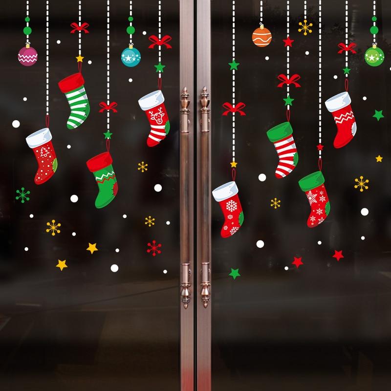 Double Wall Sticker Window Decoration Christmas Stocking Graffiti Mural Green Waterproof Cartoon Color