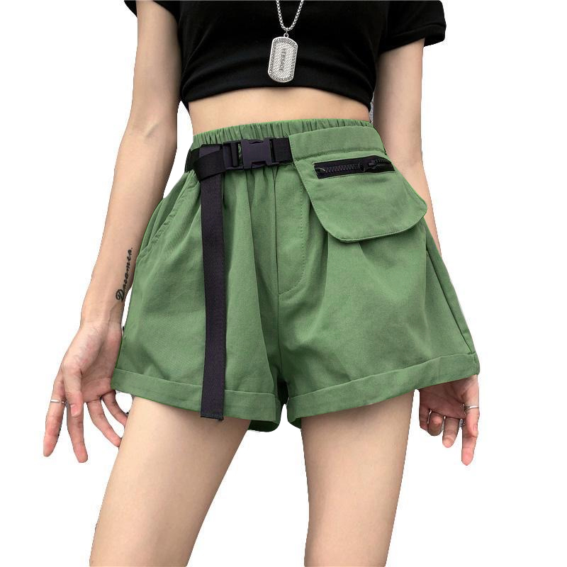 Summer Elastic Waist Vintage Cargo Shorts With Belt And Pocket Fashion Wide Leg Solid Color Loose Shorts Women Casual Shorts