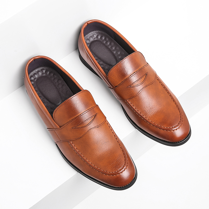 Mens Casual Leather Shoes Retro Slip On Driving Loafers Work Flat Shoes Big Size
