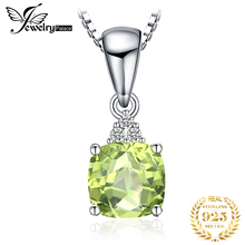 JewelryPalace 1.1ct Cushion-Cut Genuine Peridot Pendant Necklace 925 Sterling Silver Jewelry for Women Fine Jewelry almei 2018 10ct cushion cut genuine sky blue topaz pendant necklace 925 sterling silver 45cm box chain fine jewelry 40% fn005