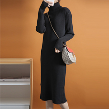 High-quality dress, cashmere split skirt, high collar, long sleeve, thick cashmere, warm lengthened knitted sweater