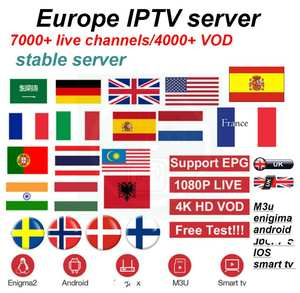 europe iptv or FREESAT V7 3/6/8 lines cccam Cable 1 Year cccam europe Germany Poland Spain UK France Freesat Satellite Receiver