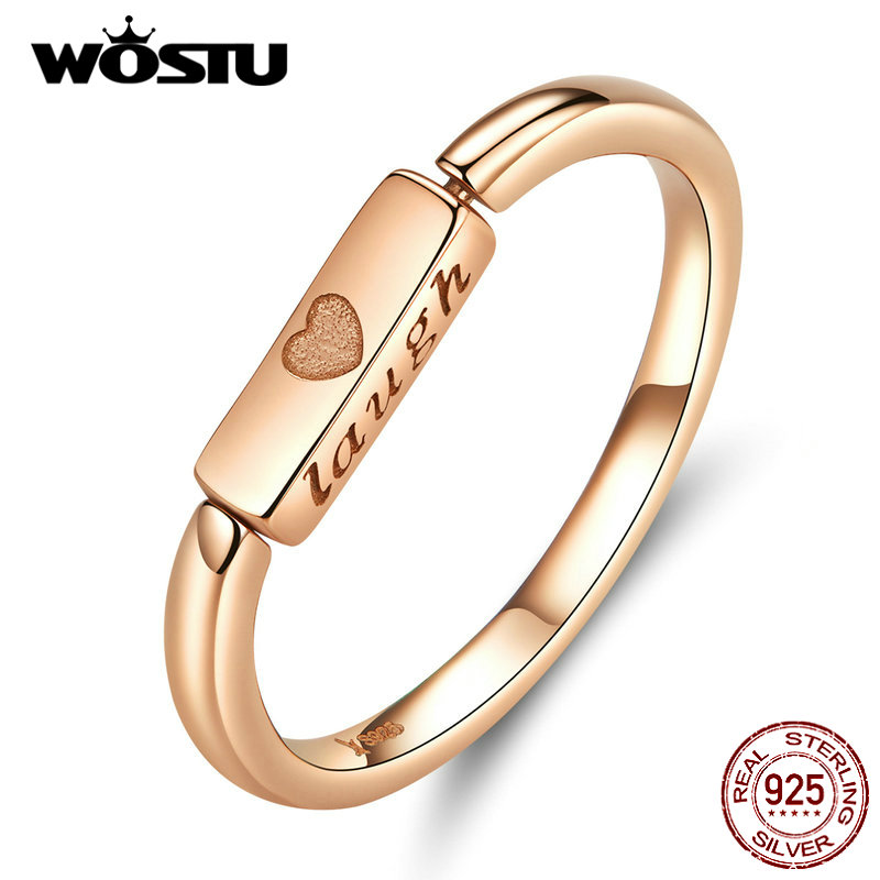 WOSTU 100% Real 925 Sterling Silver Golden Color Rings Noble Rectangle With Laugh & Love Rings For Women Jewelry Making CQR587