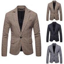 Mens Casual Plaid Business Wedding Suit Lapel Slim Fit Outwe