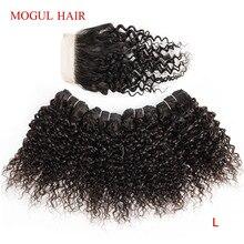 モーグル髪 50 グラム/ピース 4/6 バンドルと閉鎖ジェリーカーリーバンドル閉鎖ナチュラルカラーブラウン非レミーの髪ショートボブスタイル