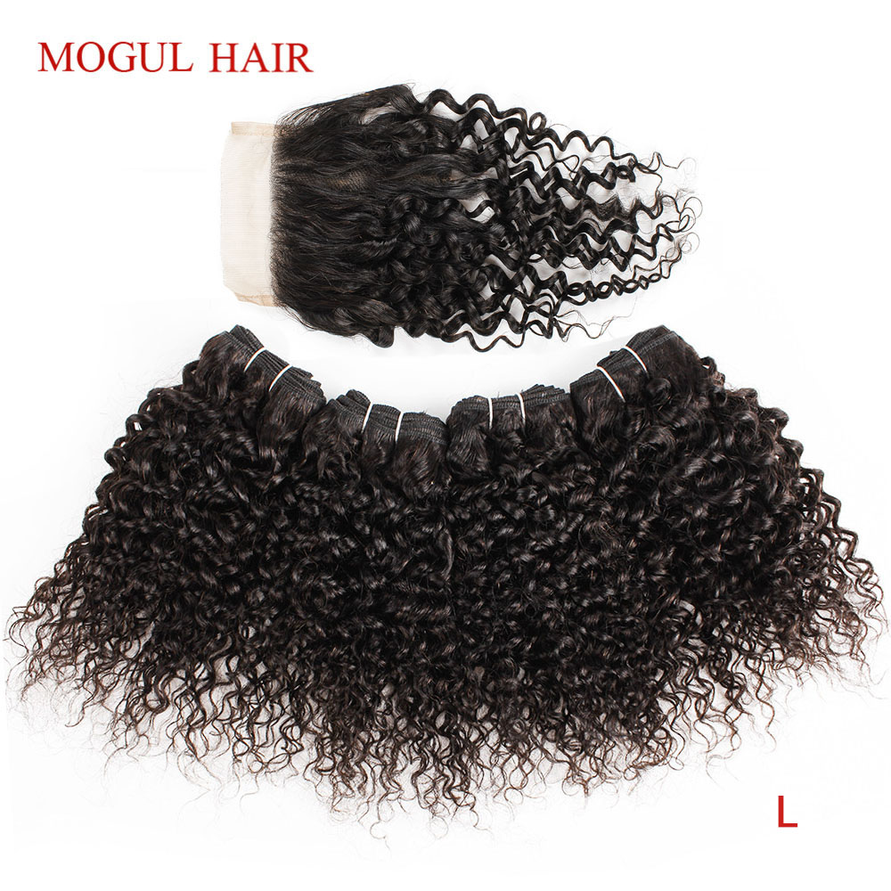 MOGUL HAIR 50g/pc 4/6 Bundles With Closure Jerry Curly Bundles With Closure Natural Color Brown Non-Remy Hair Short Bob Style