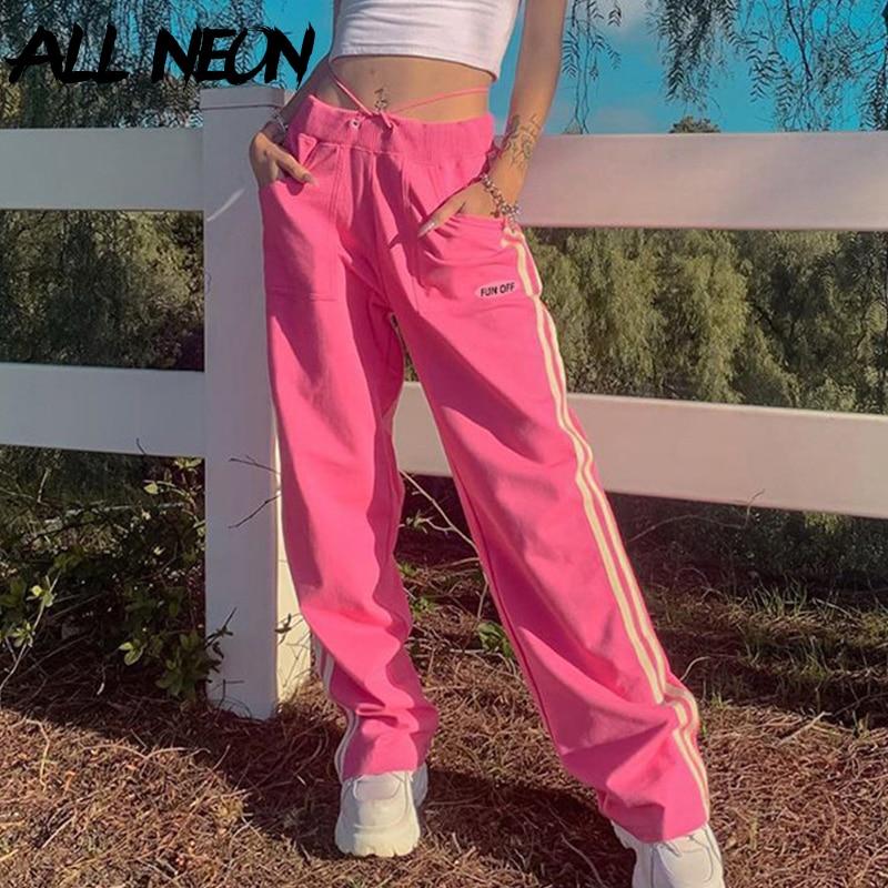 ALLNeon Y2K эстетичные розовые длинные брюки со средней талией, уличная одежда для E-girl, полосатые облегающие свободные брюки с карманами, женски...